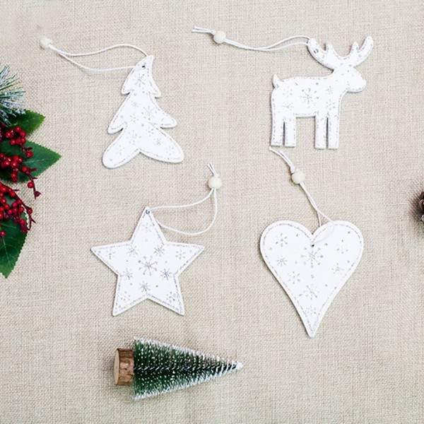 1PC White Color Wooden Christmas Tree Decorations Pendants Deer Heart Hanging Ornaments for New Year Christmas Party Home Decor