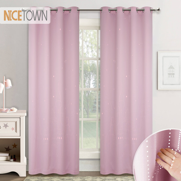 NICETOWN 2 Layers Blackout Curtains Cut out Fairy Magical Star Castle Pattern Window Drapes for Girls Nursery Room Kids Bedroom