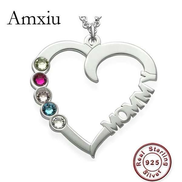 Amxiu Collar con nombre personalizado 100% 925 joyería de plata esterlina corazón gargantilla collar con cinco piedras natales mujeres regalo de la madre