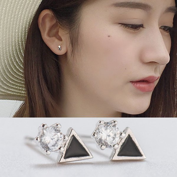 Classic Black Triangle Stud Earrings for Women Real 925 Sterling Silver Round Zircon Earring Brinco Fine Jewelry YME117