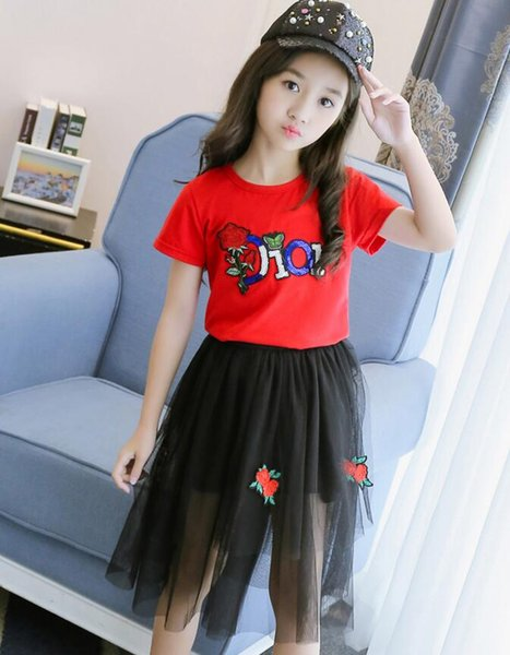 3-7 years kids baby girls T-shirt tops + tutu skirt clothes outfits 2pcs/set girl's outfits children suit kids boutique clothes