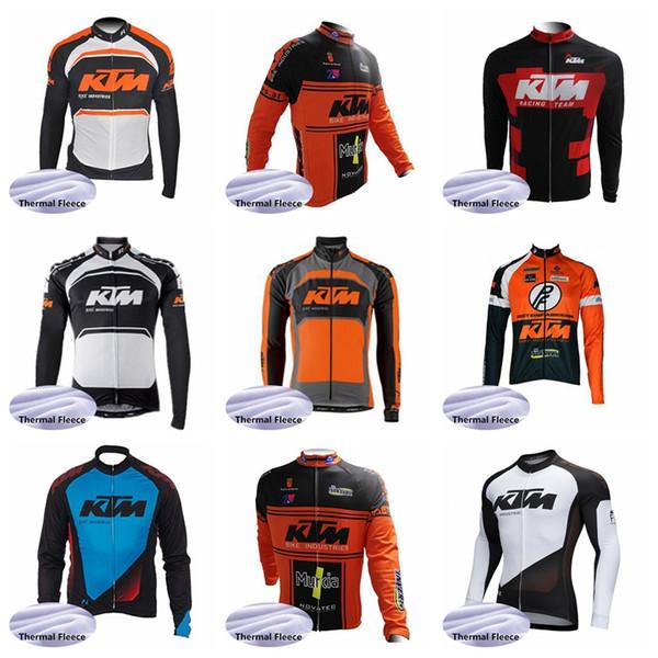 2019 KTM ekibi Bisiklet Kış Termal Polar jersey Polar Bisiklet Giyim Uzun Kollu Bisiklet Jersey 52045