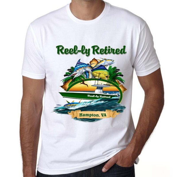 Hampton t shirt Fishing really retired short sleeve tees Fish tops Fadeless print clothing Pure color colorfast modal tshirt