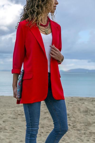Kadın Moda Saf Renk Business Suit Casual Vintage Stil V Yaka Moda Uzun Kollu Ince Kadın Takımları