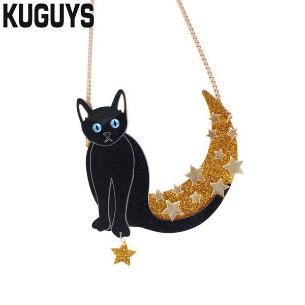 Kuguys Trendy Jewelry Golden Moon Para Mujeres Moda Acrílico Gato Negro Estrella Gran Collar Colgante Suéter Cadena C19041704