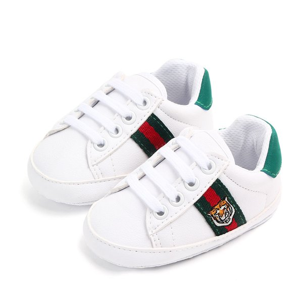 Baby Shoes Newborn Boys Girls First Walkers Kids Toddlers Lace Up PU Sneakers Infant Non-slip Shoes