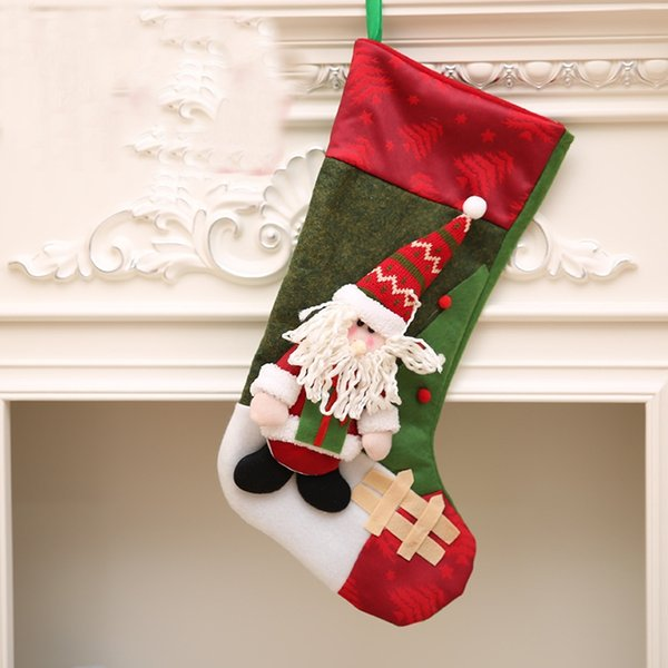 3 Designs Nonewoven Christmas Stockings 3D Doll Christmas Stockings  Children Gift Bags Xmas Tree Hanging Ornaments DHL Snowflake Decorations  Snowman ...