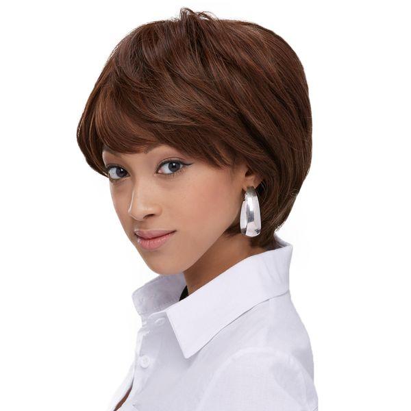 Usine en gros à la mode couleur brune vague naturelle courte t oblique bang Haircut perruques pour les femmes blanches