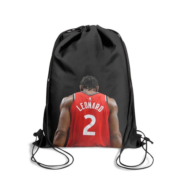 Zaino sportivo con coulisse Kawhi Leonard 2 Toronto Vista posteriore blackpersonalized daily school Travel Fabric Backpack