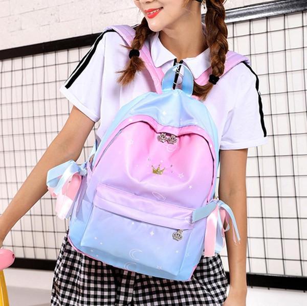 zaino femminile di viaggio Fashion Crystal Crown Studente Flap Sport Phone Pocket School Borsa a tracolla per le donne 2019 mujer