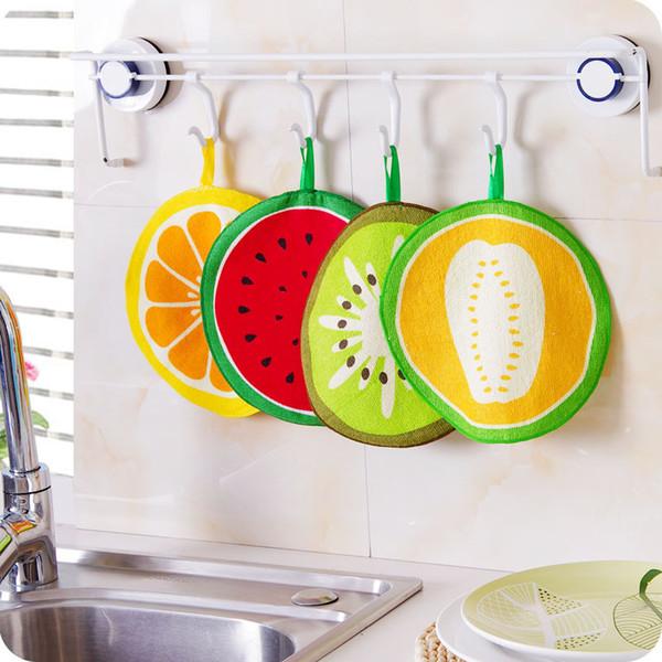 Venta al por mayor Kawaii Fruta Estampado Colgando Toalla de cocina Toallas de microfibra Limpieza de secado rápido Trapo de tela Paño de limpieza Servilleta Fregadero