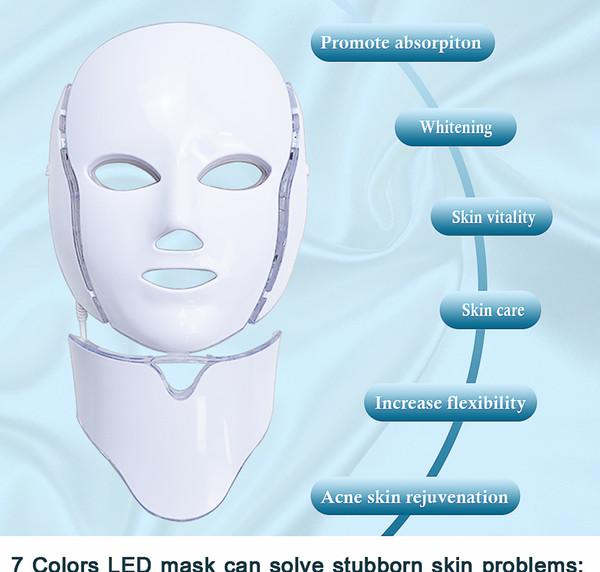 Maschera di cura della pelle di bellezza facciale di trattamento della luce di terapia della luce del fotone di vendita calda 7 LED 2019