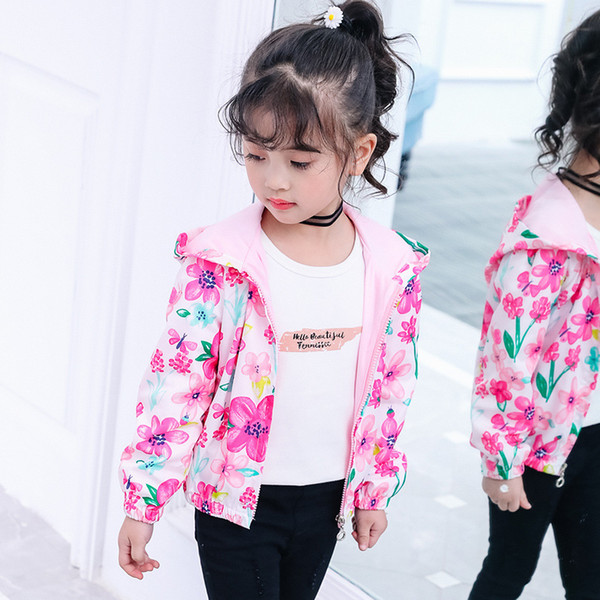 New Jacket Baby Girls Clothes 2019 Spring Long sleeve Flower Bomber Hooded Trench Coat Kids Windbreaker Windproof Outerwear