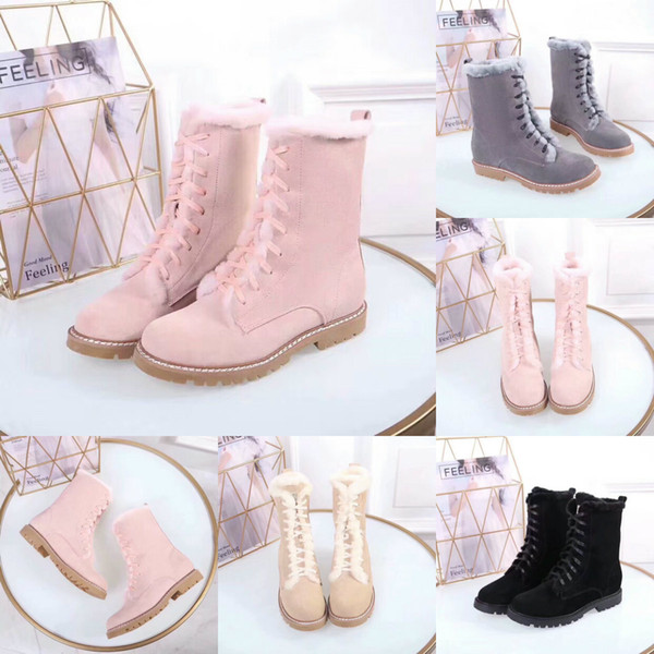 2019 Snow Winter Leather Women Australia Classic Kneel Half Boots Ankle Boots Black Grey Pink Beige Womens Girl Shoes With Original Box