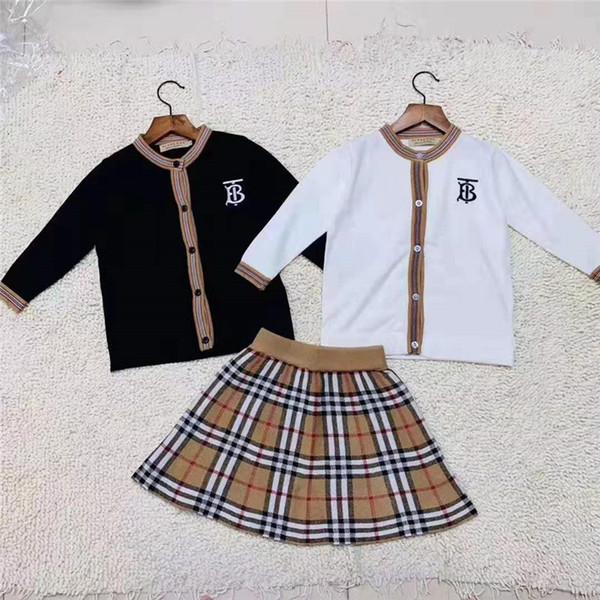 Two Piece Dresses Children's Garment Girl Autumn Baby Clothing Set 2019 New Pattern Korean Children Will Child Western Style Sweater Suit