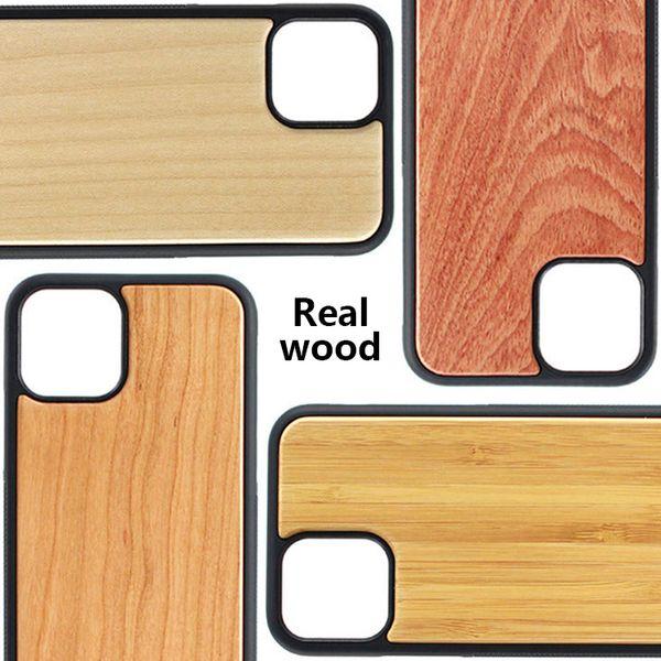 Bamboo main pour iPhone 11 Pro Bois + Housse en silicone couverture en bois pour l'iphone XS MAX 7/8 plus Samsung Galaxy S9 S10 plus de cas
