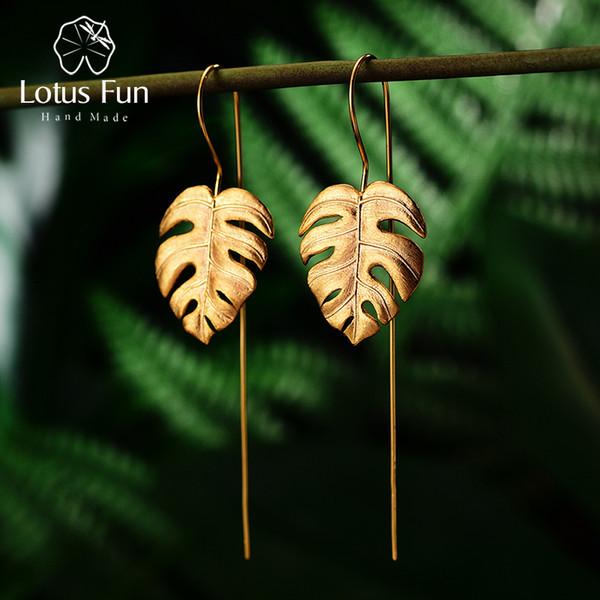 Lotus Fun Real 925 joyería fina hecha a mano de plata esterlina creativa Monstera hojas diseño cuelga los pendientes para las mujeres Bijoux J190703