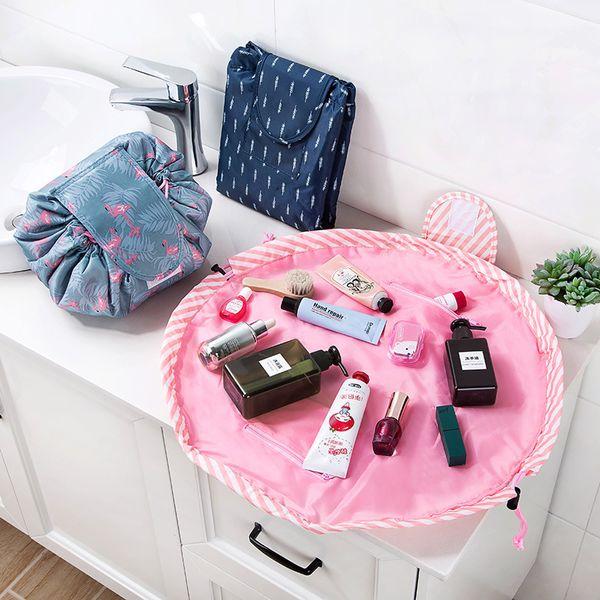 Las mujeres mágicas con cordón bolsa de cosméticos organizador de viaje perezoso maquillaje casos belleza maquillaje bolsa kit de artículos de tocador herramientas de lavado caja de almacenamiento