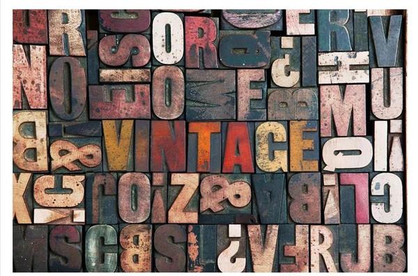 Großhandel-custom 3d silk foto mural tapete vintage buchdruck holzbrett wort sofa hintergrund wand papel de parede