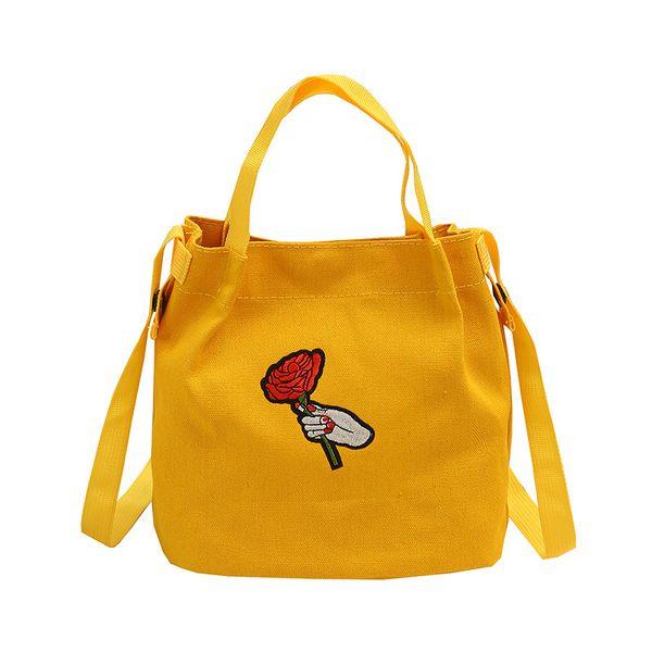 2018 summer fashion small bucket cartoon solid color candy color female bag small bag fabric art mini diagonal shopping