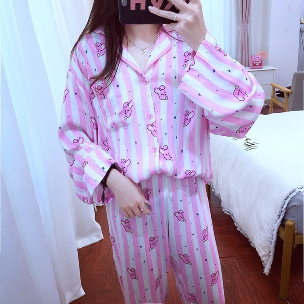BTS BT21 Bangtan Boys set pigiama 2019 Kpop Home Long Sleeve Camicia Sleepwear Versione Cartoon V Suga Camicia donna Donna Same