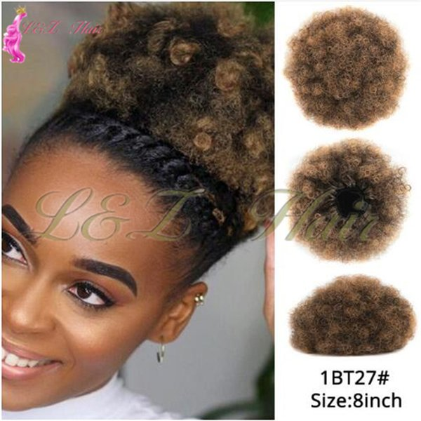 Synthetic Short Afro Kinky Curly Drawstring Ponytail High Temperature Pony Puff Ponytail Drawstring Short Afro Kinky Pony Tail Clip In Classic Chignon