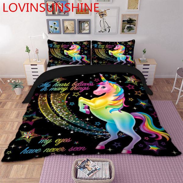LOVINSUNSHINE Cartoon Unicorn Bedding Set Cute Duvet Cover Set For Kids Children Quilt Cover Queen King Size AU01*