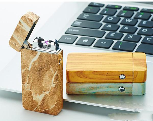 Diseño Dual Arc Electric USB encendedor recargable a prueba de viento cigarrillo sin llama fresco regalo para hombre c135