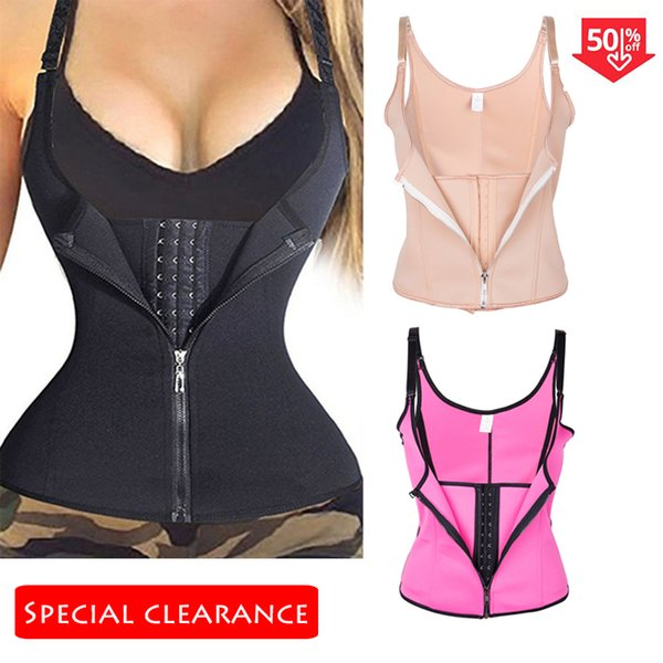 Frauen Taille Trainer Body Shaper Workout Taille Korsett Bauch Cincher Kontrollweste Reißverschluss Unterbrustkorsetts und Bustiers XS-4XL