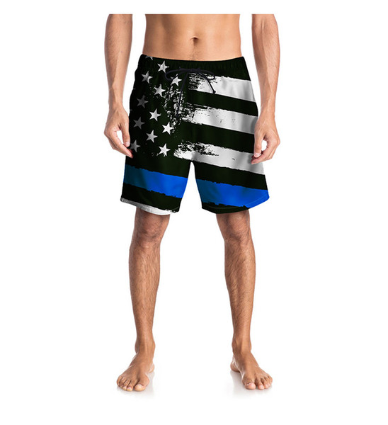 Foreign trade large size beach pants 2019 summer personality star flag digital printing swimming trunks loose fat pants men Swimwear
