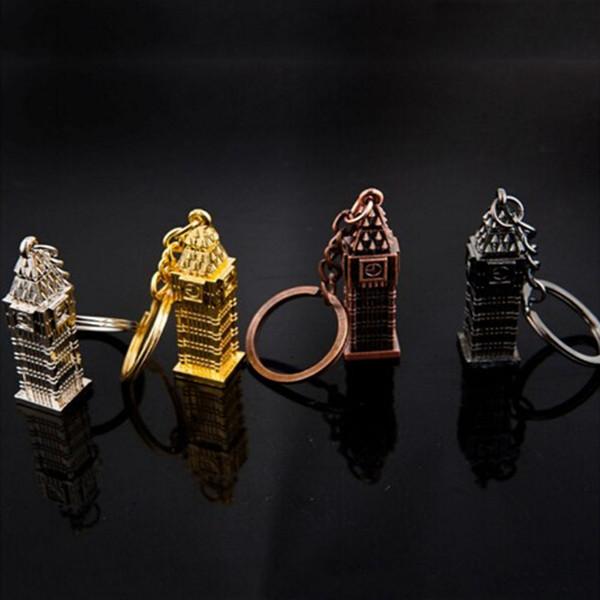 Londres big ben modelo pequeno chaveiro lembrança presentes 3d relógio pingente diy homens jóias titular do anel chave de cadeia do carro para mulheres dos homens presente