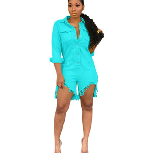 Womens Summer Sexy Short Jeans Playsuits For Ladies Fashion Vintage Slim Long Sleeved Denim Overalls Jumpsuits Shorts XXL