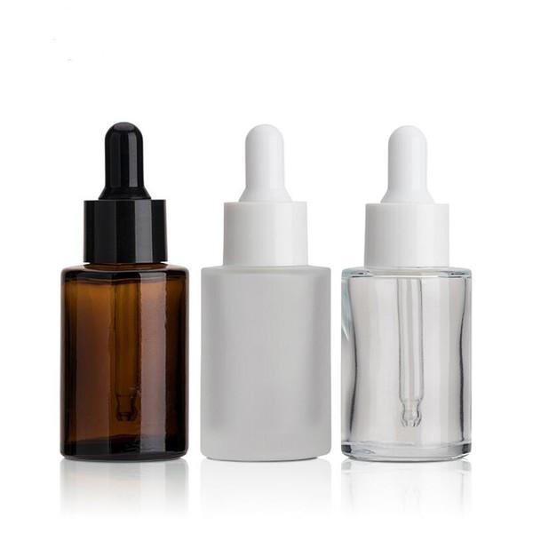 La venta caliente 2019 libera el envío 200pcs 30ml frosted O las botellas de cristal claras con el dropper blanco