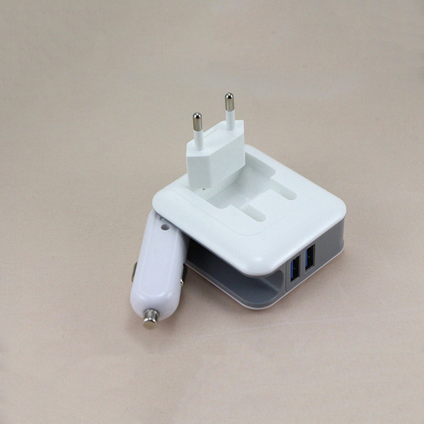 2en1 Cargador de pared compacto Convertidor de coche Puerto USB doble 5V 2.1A Cargador de viaje en casa plegable de carga rápida Adaptador de corriente AC / DC