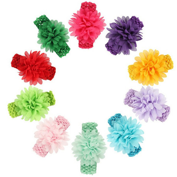 Baby Headwear Head Flower Hair Accessories Chiffon flower with soft Elastic crochet headbands stretchy hair band DHL FJ389