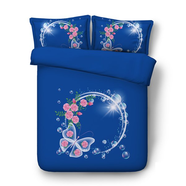 Pink Flower Colorful Butterfly Duvet Cover Set 3 Piece Comforter Cover With 2 Pillow Shams Blue Purple Galaxy Starry Bedding Sets Kid Teen