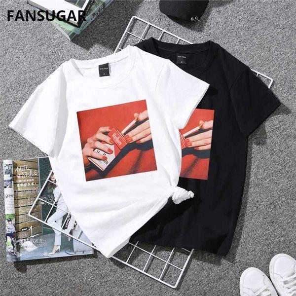 Harajuku Vogue Casual Funny Women's T-shirt Short Sleeve Cigarette Print Slim Korean Style Oversized White Tees Couple Clothes C19042301