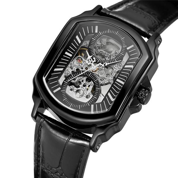 Forsining Retro Klasik Tasarımcı Siyah Paslanmaz Çelik Kasa Erkekler Saatler Üst Marka Lüks Mekanik Otomatik İzle Saat Erkekler