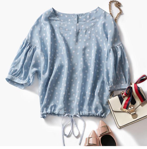 Frisch! Wellen-Hemd der reinen Seide des sanften Salzmädchens blaues weißes weißes