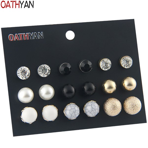 OATHYAN 9 Pairs/Set Trendy Acrylic Beads Simulated Pearl Stud Earrings Set For Women Ball Black Crystal Earring Girl Gift Brinco