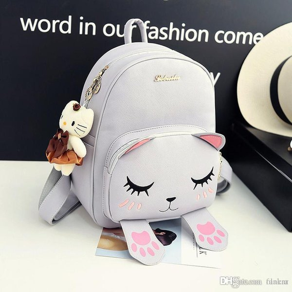 Wholesale- Korean style autumn new collection cat embroidery backpack cute cartoon shoulder bag preppy style fashion student school bag