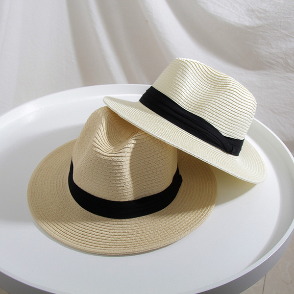 2019 New Spring Summer Black White Straw Hats for Women Beach Sun Hat Trendy Korea Wide Eaves Sunhat Ladies Chapeau Femme Ete