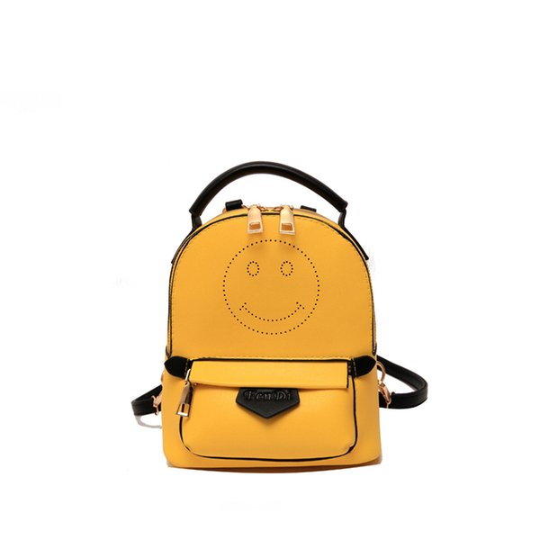 New 2019 Small Cute Smile Backpack For Teenagers Women Pu Leather Backpacks Girls Lady Student School Travel Bags Bolsas An1193