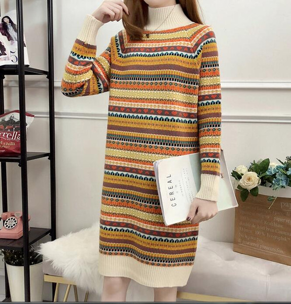 Cheapest new women'slong colorful striped Slim bottoming wild knitted sweater dress