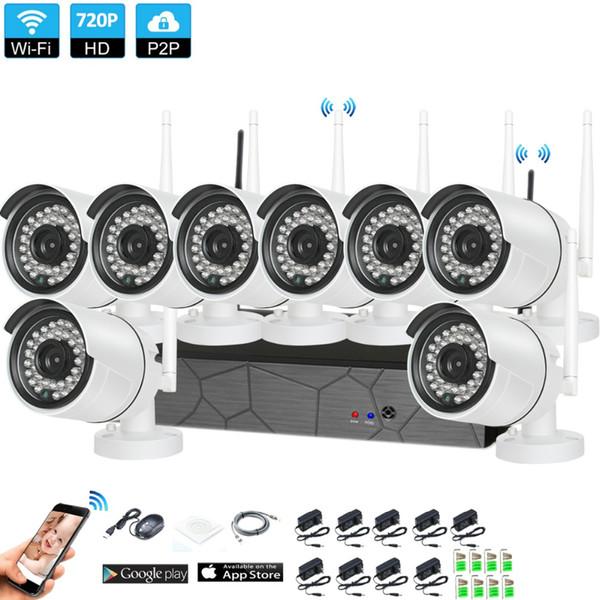 8CH Home CCTV Wireless Security System 720P NVR 8PCS 1.0MP IR-Cut Indoor Outdoor P2P Wifi IP Weatherproof Camera Surveillance Kit