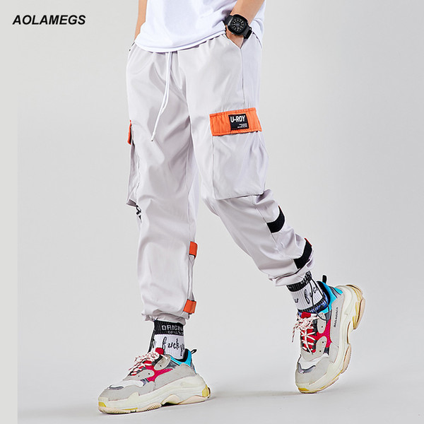 Aolamegs Men Casual Track Pants Splicing Contrast Pants Men Elastic Waist Sweatpants High Street Hip Hop Streetwear