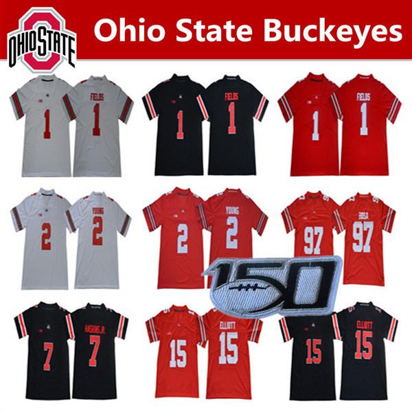 NCAA Ohio State Buckeyes Justin Alanlar OSU Jersey JK Dobbins Dwayne Haskins Jr Chase Genç Nick Bosa Elliott Futbol Jersey