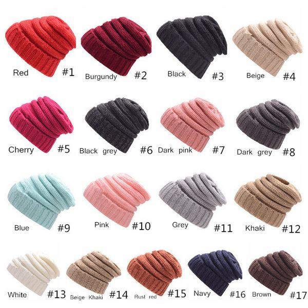 Kasketleri şapka Örme Kaput Moda Vizör Fincan Kızlar Kadınlar Kış Sıcak Şapka Örgü Gorro Şapka Rahat Kasketleri 17 Renkler