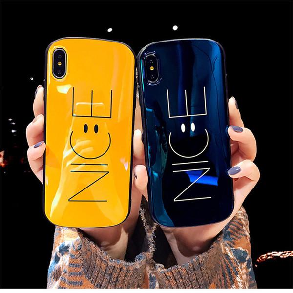 NICE Smiling Face Case Fits Hybrid Case Smiling Happy Cute Cartoon Black Plastic Black Rubber Case for iphone 6S 7 8 plus X