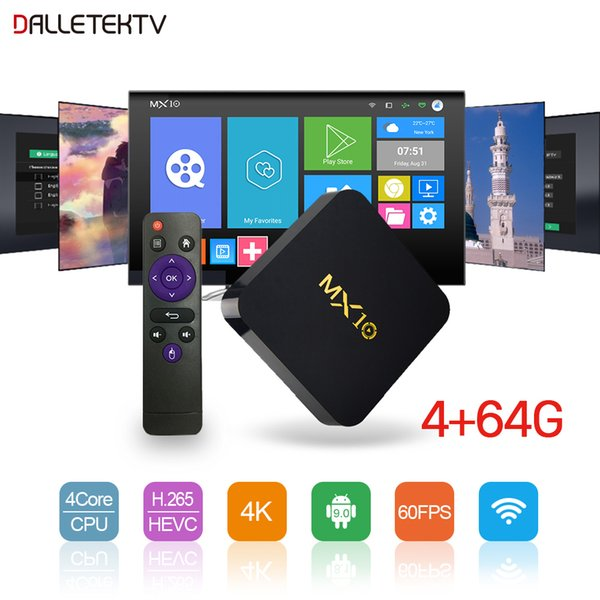 Smart Set Top Box Android 9.0 MX10 4G+64G Quad-Core TV Box 2.4GHz Wifi 4K H.265 Decoder Media Player TV Receiver
